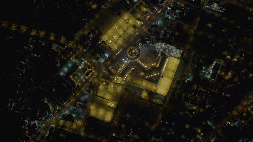 4K stock footage aerial video of bird's eye view of Las Vegas Boulevard, top of Stratosphere, Las Vegas, Nevada Night Aerial Stock Footage | DCA03_086