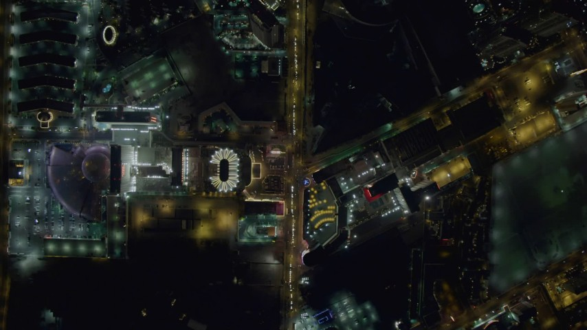 4K stock footage aerial video of bird's eye view following Las Vegas Boulevard, Nevada Night Aerial Stock Footage | DCA03_089