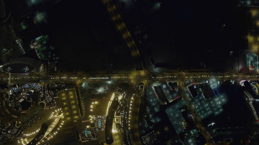 4K aerial video of bird's eye view of Las Vegas Boulevard, Nevada Night Aerial Stock Footage | DCA03_091