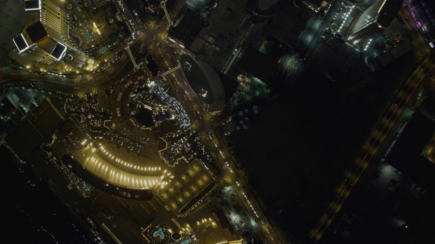 4K stock footage aerial video of bird's eye view of Las Vegas Boulevard, Nevada Night Aerial Stock Footage | DCA03_092