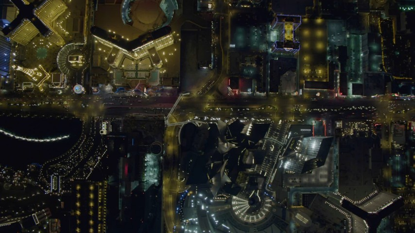 4K stock footage aerial video of a bird's eye view of Las Vegas Boulevard, Nevada Night Aerial Stock Footage | DCA03_098