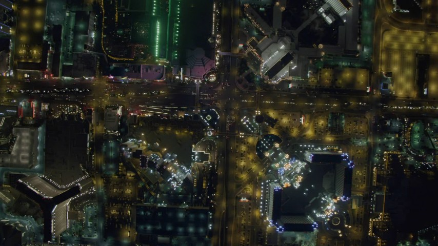 4K stock footage aerial video of a bird's eye view of Las Vegas Boulevard, Nevada Night Aerial Stock Footage | DCA03_099