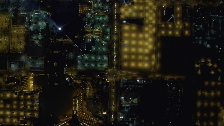 4K stock footage aerial video of a bird's eye view of Las Vegas Boulevard, Nevada Night Aerial Stock Footage | DCA03_101