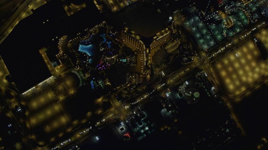 4K stock footage aerial video of bird's eye view of Las Vegas Boulevard, orbiting Mandalay Bay, Nevada Night Aerial Stock Footage | DCA03_102