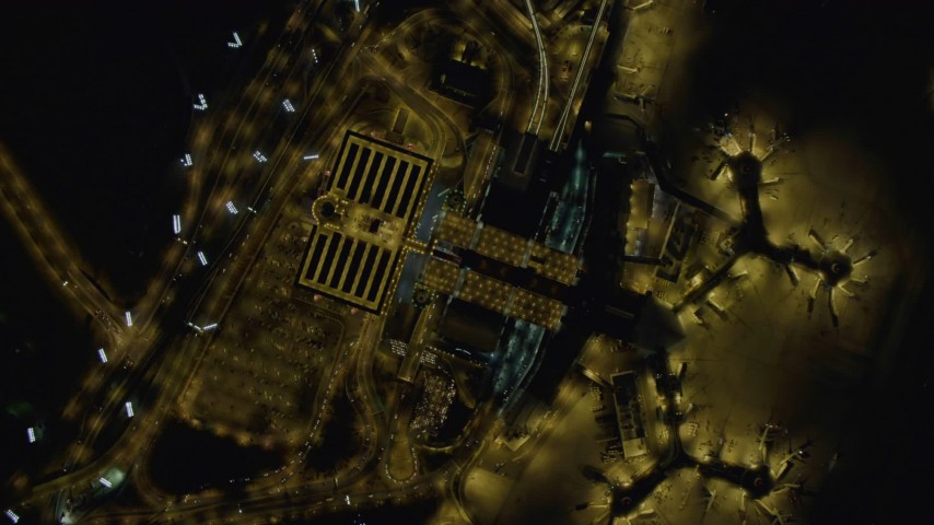4K stock footage aerial video of bird's eye view of McCarran International Airport, Las Vegas, Nevada Night Aerial Stock Footage | DCA03_105