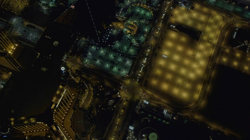 4K aerial video of a bird's eye view following Las Vegas Boulevard, Nevada Night Aerial Stock Footage | DCA03_114