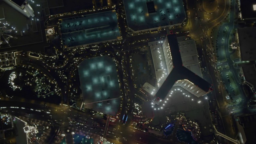 4K aerial video of bird's eye view of The Mirage, Treasure Island, Las Vegas Boulevard, Nevada Night Aerial Stock Footage | DCA03_120