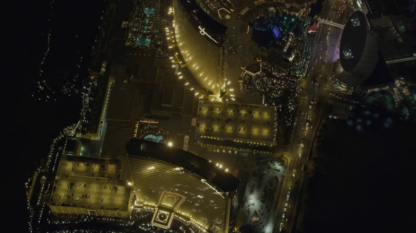 4K stock footage aerial video of Encore, Wynn, The Palazzo, Las Vegas, Nevada Night Aerial Stock Footage | DCA03_121