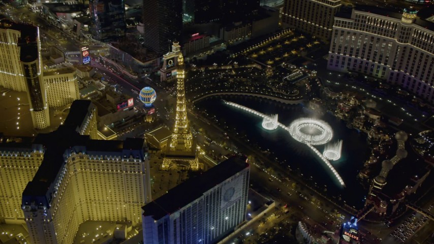 4K aerial video of orbiting the water show at The Bellagio, Las Vegas, Nevada Night Aerial Stock Footage | DCA03_130