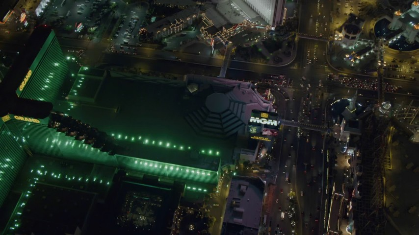 4K stock footage aerial video of MGM Grand, Las Vegas, Nevada Night Aerial Stock Footage | DCA03_138