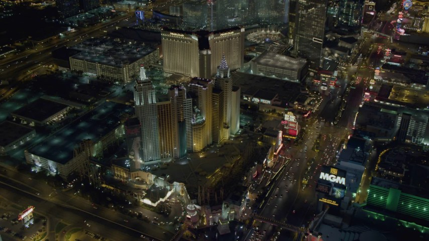 4K stock footage aerial video of approaching New York New York Hotel and Casino, Las Vegas, Nevada Night Aerial Stock Footage | DCA03_143