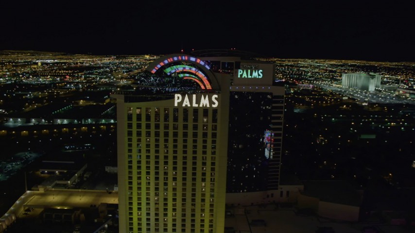 4K stock footage aerial video of approaching and orbiting Palms Casino Resort, Las Vegas, Nevada Night Aerial Stock Footage | DCA03_152