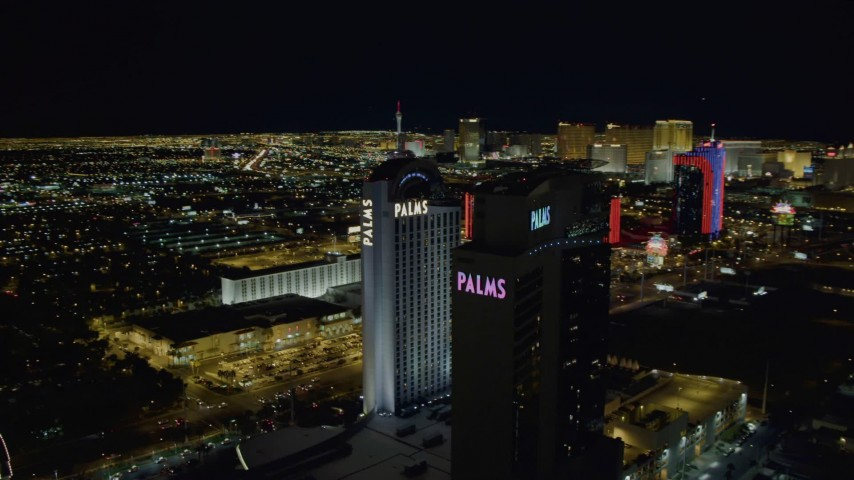4K stock footage aerial video of orbiting Palms Casino Resort, Las Vegas, Nevada Night Aerial Stock Footage DCA03_153 | Axiom Images