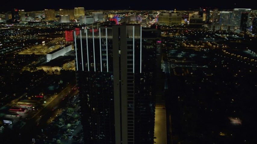 4K stock footage aerial video of orbiting Palms Place Hotel and Spa, Las Vegas, Nevada Night Aerial Stock Footage | DCA03_155