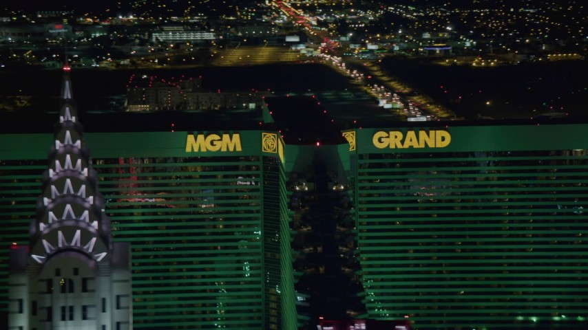 4K stock footage aerial video of flying by MGM Grand, Las Vegas, Nevada Night Aerial Stock Footage | DCA03_160