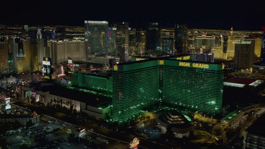 4K stock footage aerial video of flying by MGM Grand, Las Vegas, Nevada Night Aerial Stock Footage DCA03_165 | Axiom Images