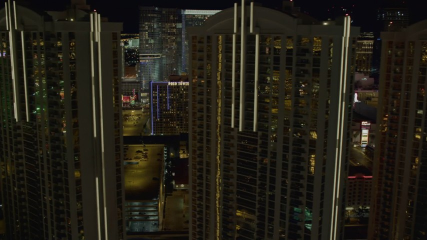4K aerial video of flying by the Signature at MGM Grand, Las Vegas, Nevada Night Aerial Stock Footage | DCA03_167