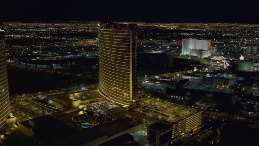 4K stock footage aerial video of Encore, Las Vegas, Nevada Night Aerial Stock Footage | DCA03_171