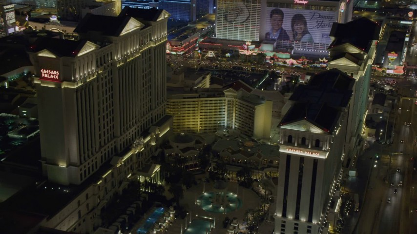 4K stock footage aerial video of orbiting Caesar's Palace, Las Vegas, Nevada Night Aerial Stock Footage | DCA03_190