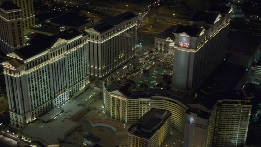 4K stock footage aerial video of orbiting Caesar's Palace, Las Vegas, Nevada Night Aerial Stock Footage DCA03_191
