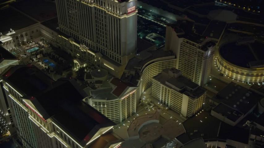 4K stock footage aerial video of orbiting Caesar's Palace, Las Vegas, Nevada Night Aerial Stock Footage | DCA03_192