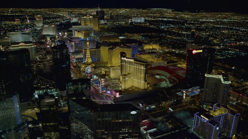 4K stock footage aerial video of hotels along Las Vegas Strip, Nevada Night Aerial Stock Footage | DCA03_196