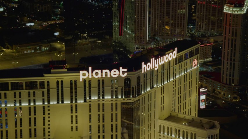 4K stock footage aerial video of the top of the Planet Hollywood Resort and Casino, Las Vegas, Nevada Night Aerial Stock Footage | DCA03_199