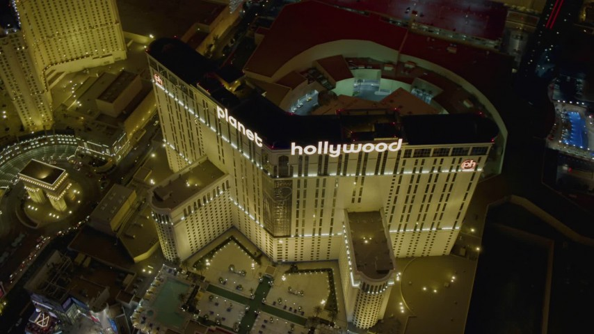 4K stock footage aerial video of orbiting front of Planet Hollywood Resort and Casino, Las Vegas, Nevada Night Aerial Stock Footage | DCA03_202