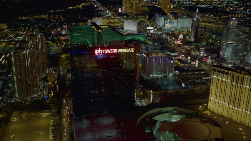 4K stock footage aerial video of Planet Hollywood Towers Westgate, Las Vegas, Nevada Night Aerial Stock Footage | DCA03_203