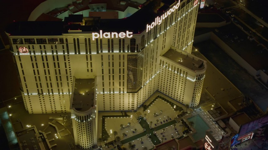 4K stock footage aerial video of orbiting front of Planet Hollywood Resort and Casino, Las Vegas, Nevada Night Aerial Stock Footage | DCA03_207