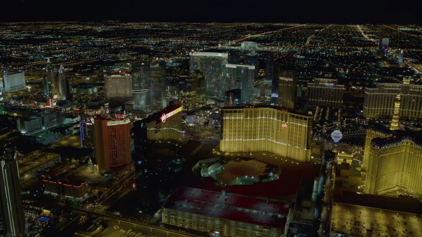4K stock footage aerial video of hotels on Las Vegas Strip, Nevada Night Aerial Stock Footage | DCA03_209