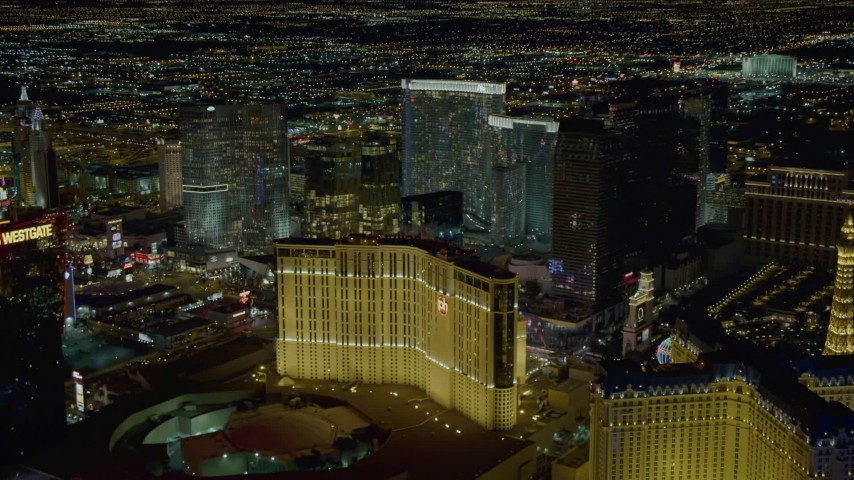 4K stock footage aerial video of hotels on the Las Vegas Strip, Nevada Night Aerial Stock Footage | DCA03_210