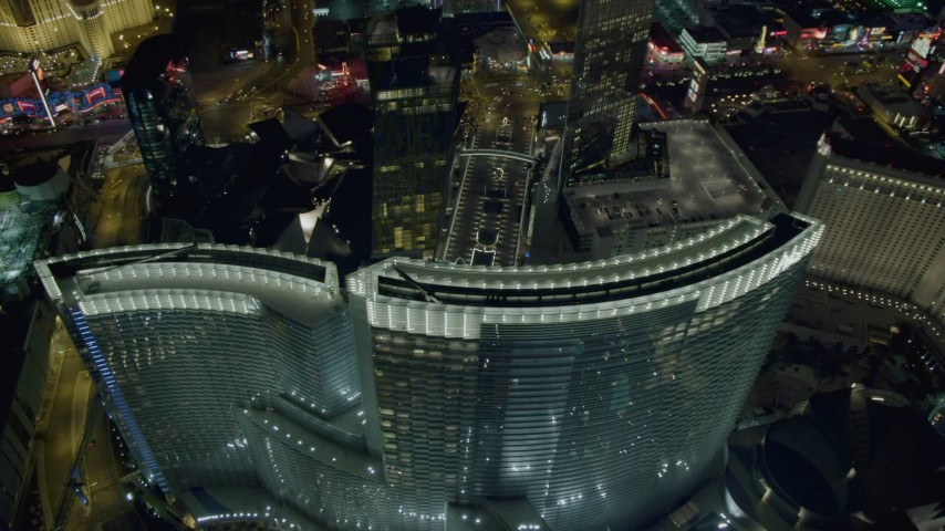 4K stock footage aerial video of orbiting Aria Resort and Casino, Las Vegas, Nevada Night Aerial Stock Footage | DCA03_213