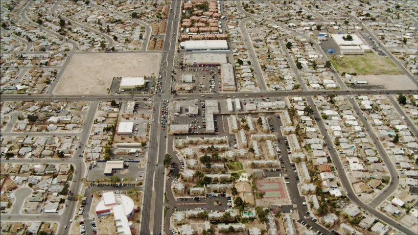 4K aerial video flying over suburb in East Las Vegas, Nevada  Aerial Stock Footage | DCA04_001