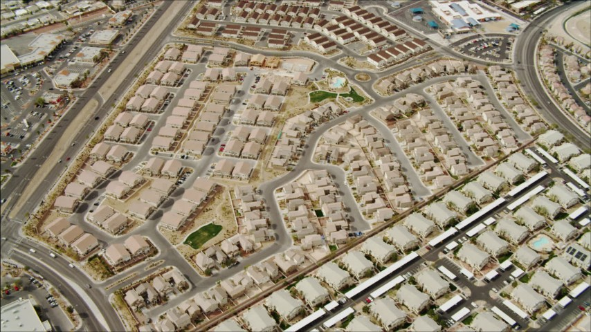 4K aerial video flying over suburb in East Las Vegas, Nevada Aerial Stock Footage | DCA04_002