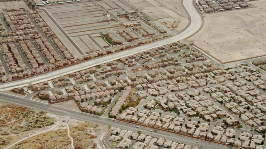 4K aerial video zooming in on suburban neighborhood in East Las Vegas, Nevada Aerial Stock Footage | DCA04_004