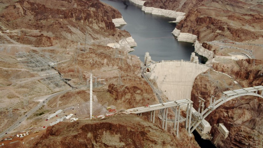 4K stock footage aerial video of panning to Hoover Dam, Boulder City, Nevada Aerial Stock Footage | DCA04_007