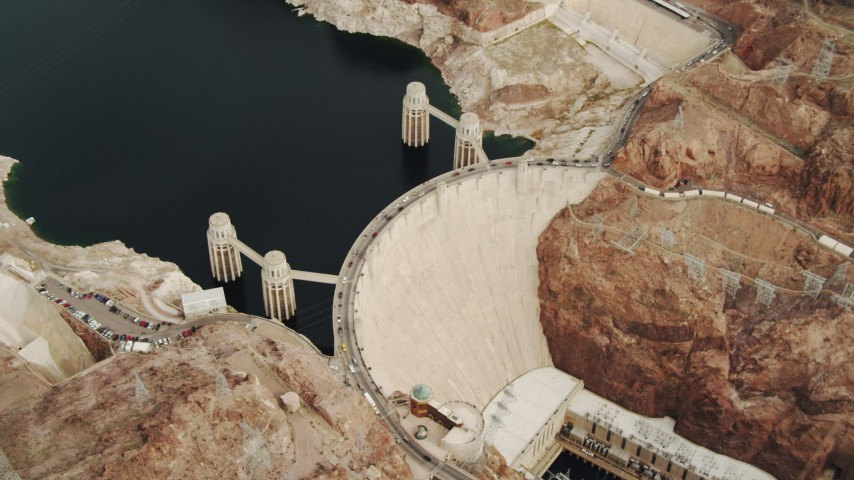 4K stock footage aerial video of a bird's eye view of Hoover Dam, Boulder City, Nevada Aerial Stock Footage | DCA04_009