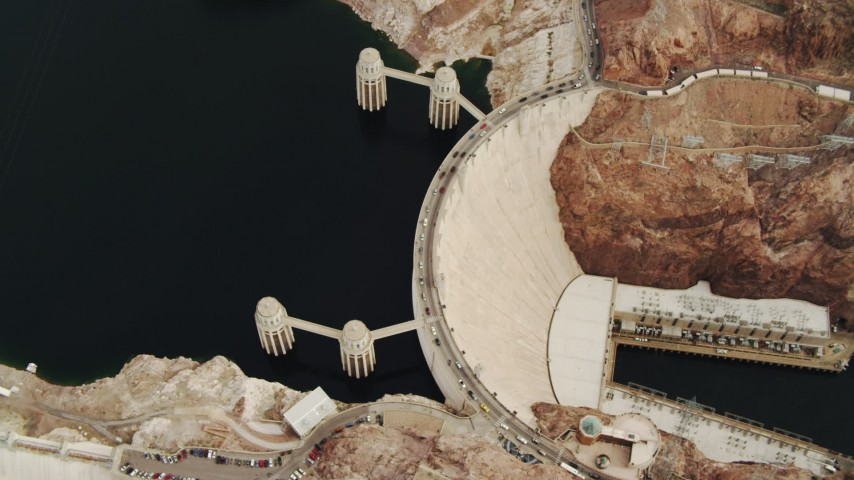 4K stock footage aerial video of a bird's eye view of the Hoover Dam with traffic, Boulder City, Nevada Aerial Stock Footage DCA04_010 | Axiom Images
