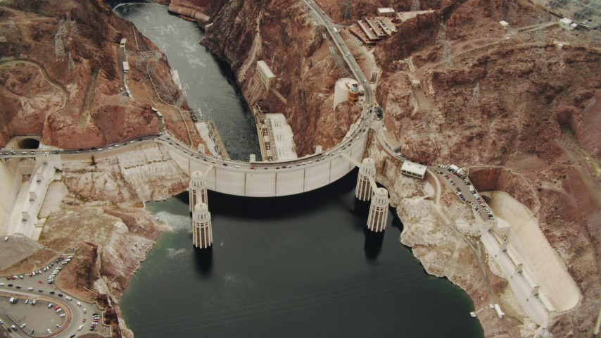 4K stock footage aerial video of flying away from Hoover Dam, Boulder City, Nevada Aerial Stock Footage | DCA04_011