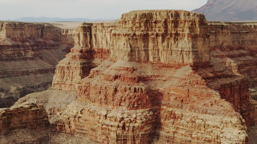 4K stock footage aerial video of flying by a rock formation in Grand Canyon, Arizona Aerial Stock Footage DCA04_037