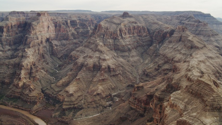 4K stock footage aerial video of flying by rock formations in Grand Canyon, Arizona Aerial Stock Footage | DCA04_053
