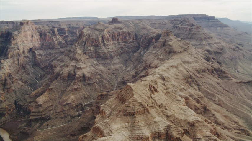 4K stock footage aerial video of flying by rock formations in Grand Canyon, Arizona Aerial Stock Footage | DCA04_054