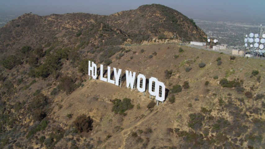 4K stock footage aerial video of orbiting the Hollywood Sign, Los Angeles, California Aerial Stock Footage | DCA05_007
