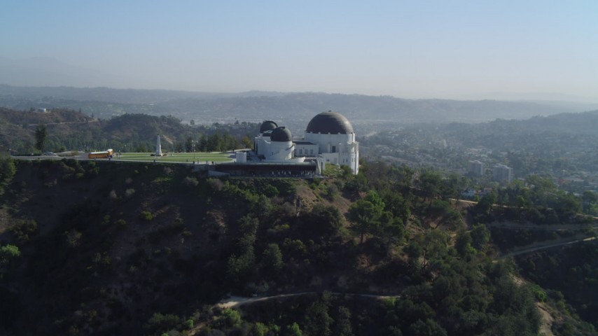 4K stock footage aerial video of approaching the Griffith Observatory, west side, Los Angeles, California Aerial Stock Footage | DCA05_012
