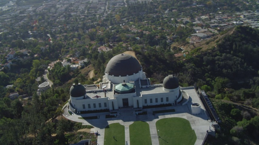 4K stock footage aerial video of orbiting the Griffith Observatory, north side, Los Angeles, California Aerial Stock Footage | DCA05_014