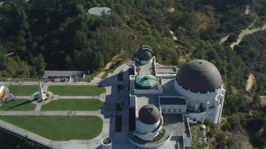4K stock footage aerial video of a bird's eye view orbiting the Griffith Observatory, Los Angeles, California Aerial Stock Footage | DCA05_015