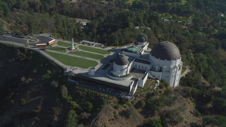 4K stock footage aerial video of Griffith Observatory grounds, Los Angeles, California Aerial Stock Footage | DCA05_018