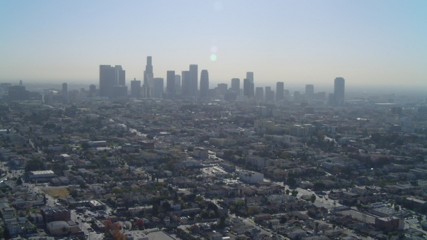 4K stock footage aerial video of approaching the Downtown skyline, Los Angeles, California Aerial Stock Footage | DCA05_024