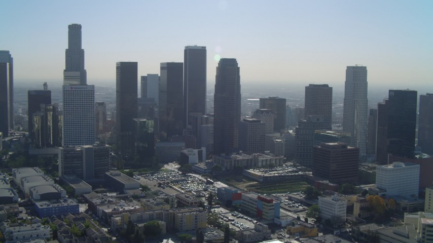 4K aerial video of approaching Aon Center, Figueroa at Wilshire, Downtown, Los Angeles, California Aerial Stock Footage | DCA05_026